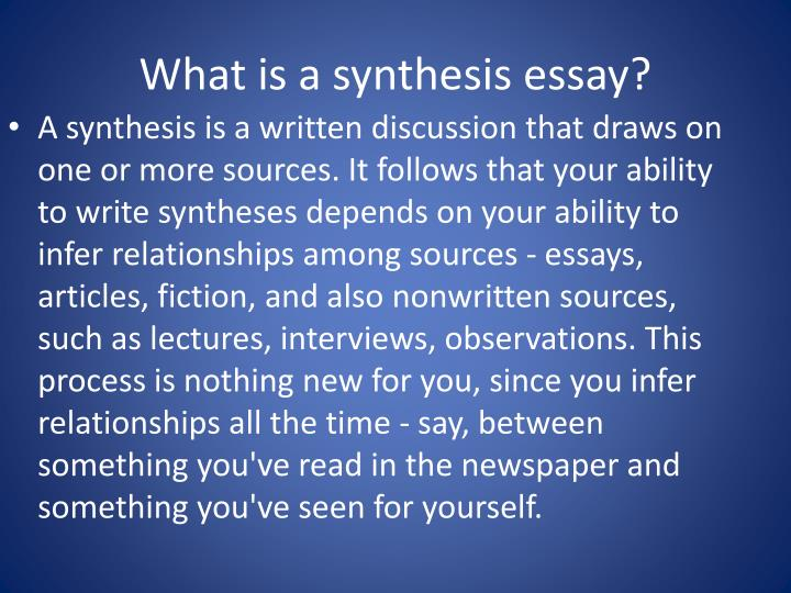 What is a synthesis essay?