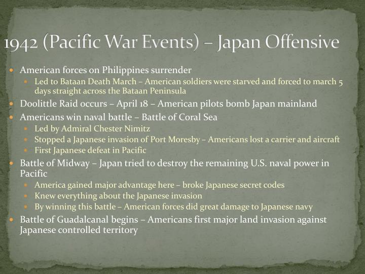 1942 (Pacific War Events) – Japan Offensive
