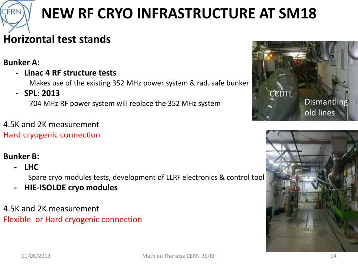 NEW RF CRYO INFRASTRUCTURE AT SM18