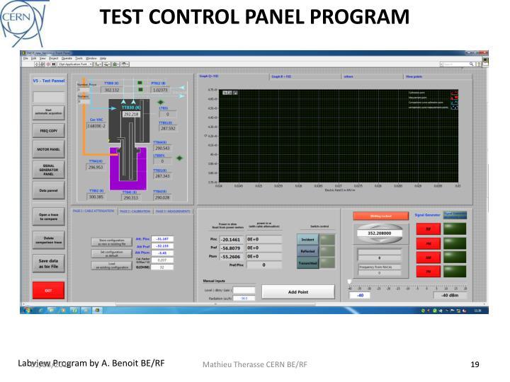 TEST CONTROL PANEL PROGRAM