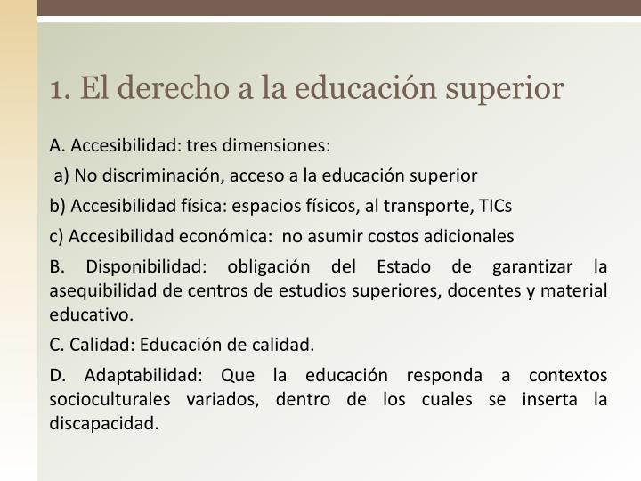 1. El derecho a la educación superior