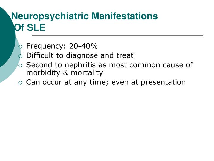 Neuropsychiatric Manifestations