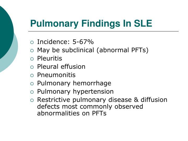Pulmonary Findings In SLE