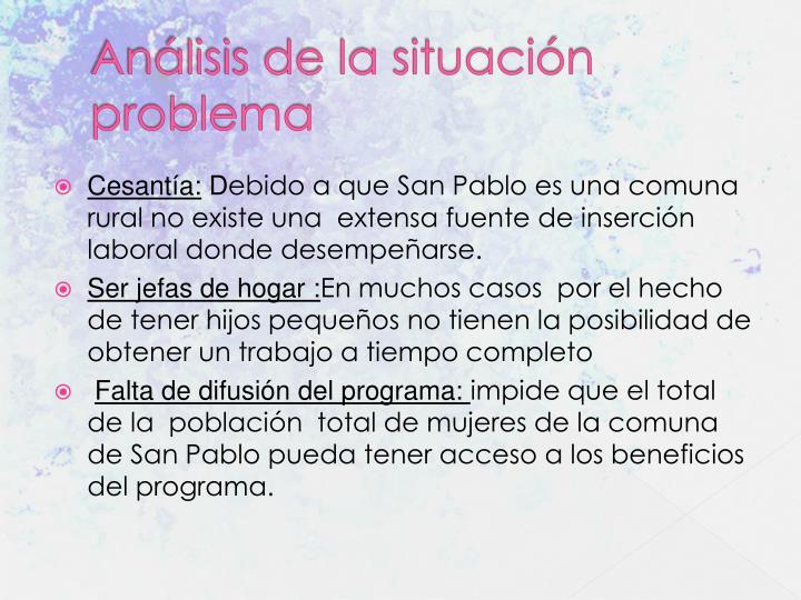 Análisis de la situación problema