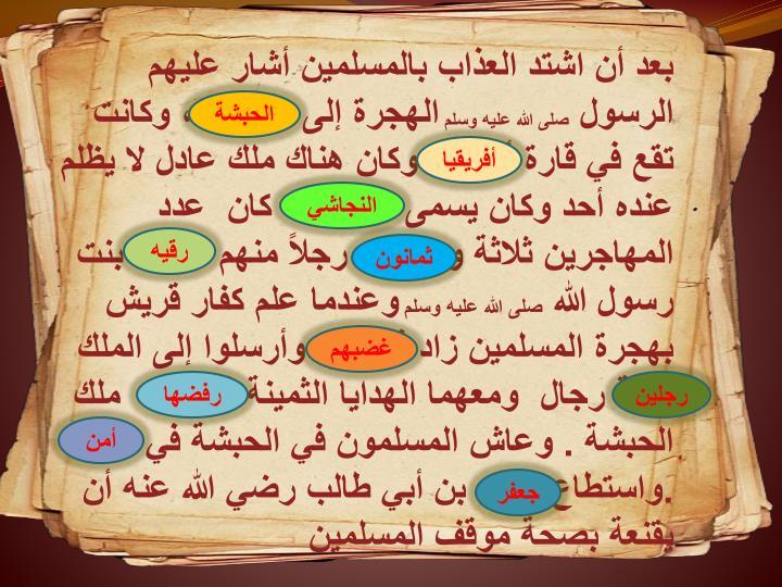 بعد أن اشتد العذاب بالمسلمين أشار عليهم الرسول