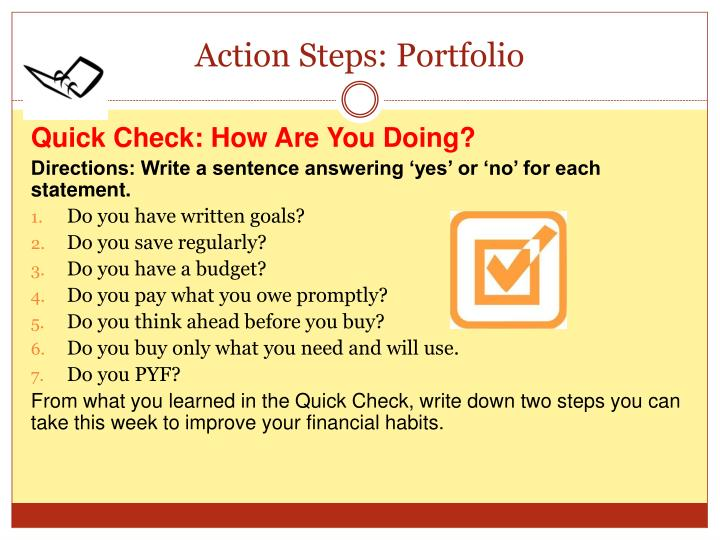 Action Steps: Portfolio