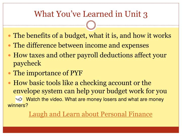 What You've Learned in Unit 3