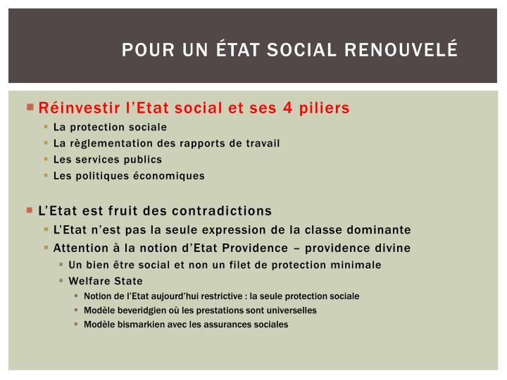 Pour un état social renouvelé