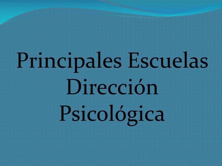 Principales Escuelas  Dirección Psicológica