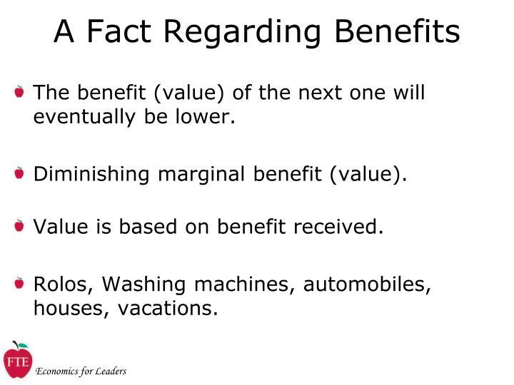 A Fact Regarding Benefits