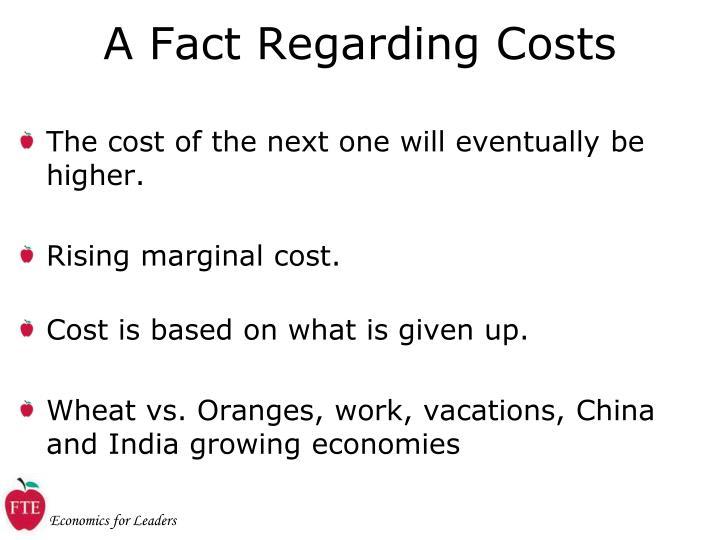 A Fact Regarding Costs