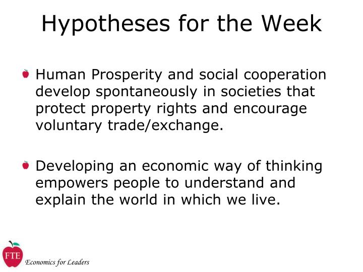 Hypotheses for the Week