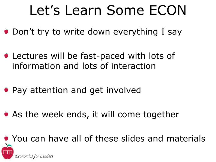 Let s learn some econ