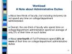 workload a note about administrative duties