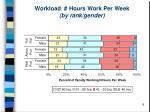 workload hours work per week by rank gender