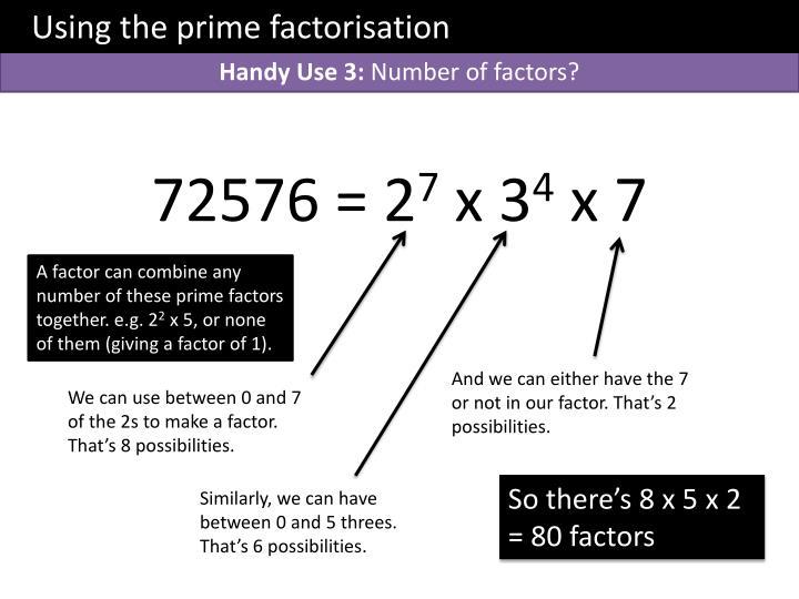Using the prime factorisation