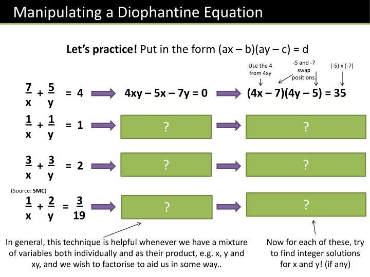 Manipulating a Diophantine Equation