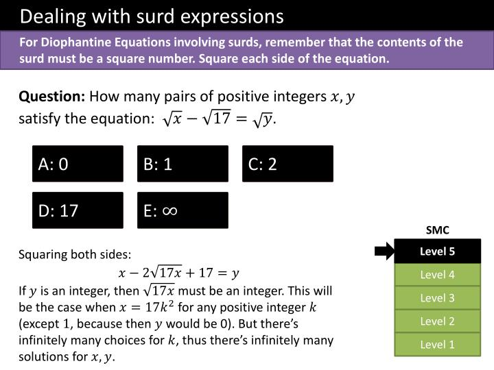 Dealing with surd expressions