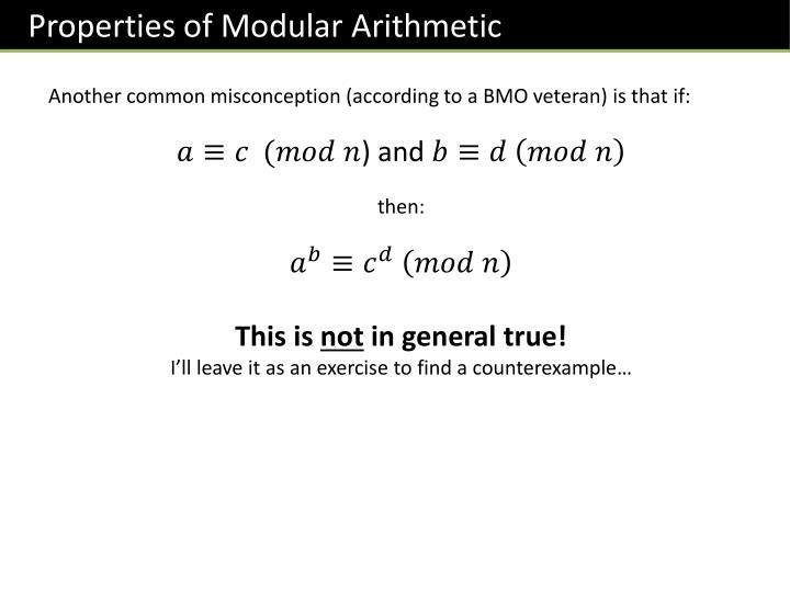 Properties of Modular Arithmetic
