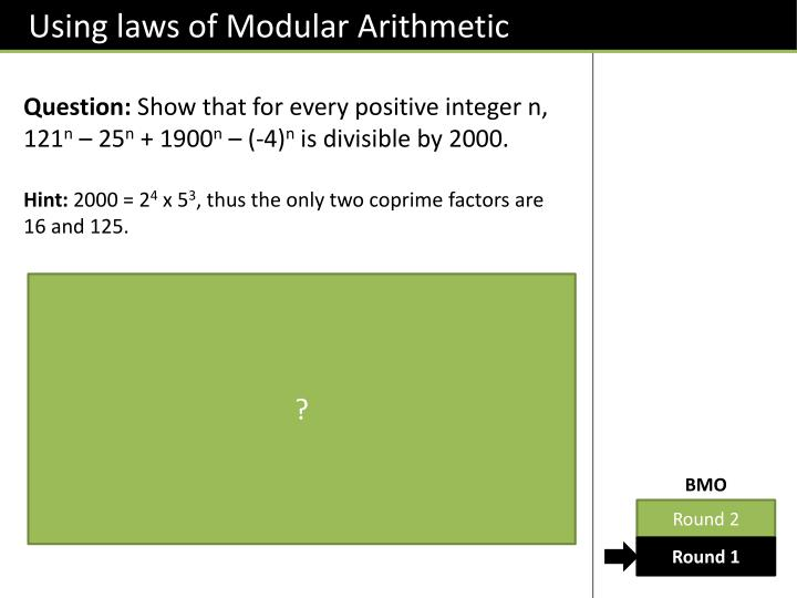 Using laws of Modular Arithmetic