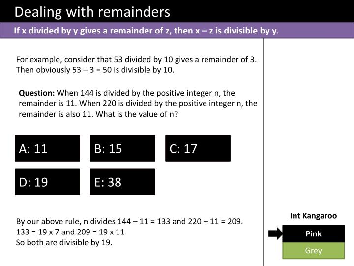 Dealing with remainders