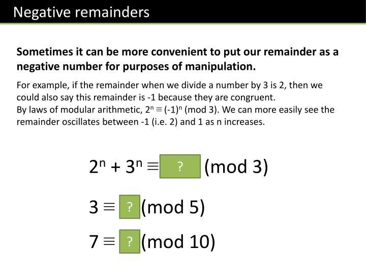 Negative remainders