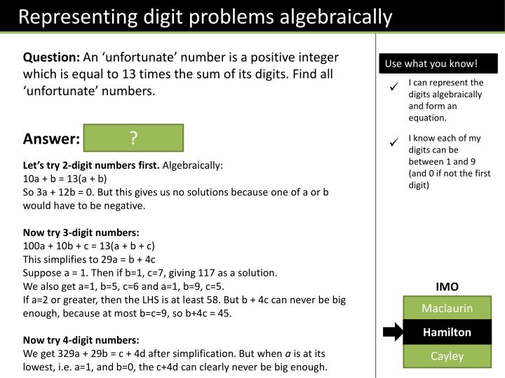 Representing digit problems algebraically