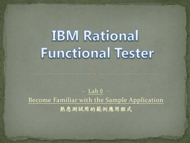 lab 0 become familiar with the sample application