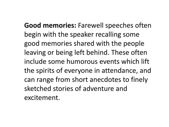 farewell speeches Writing farewell speech can be hard, but we are sure that you will nail yours with this farewell speech sample created by our experts.