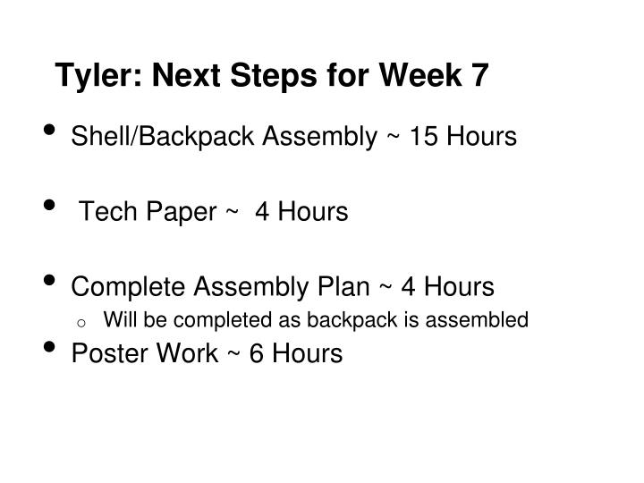 Tyler: Next Steps for Week 7