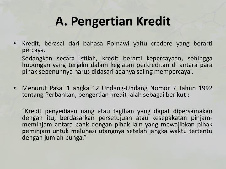 A pengertian kredit