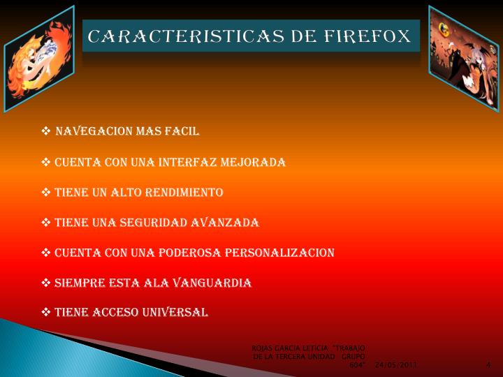 CARACTERISTICAS DE FIREFOX