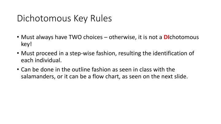 Dichotomous Key Rules