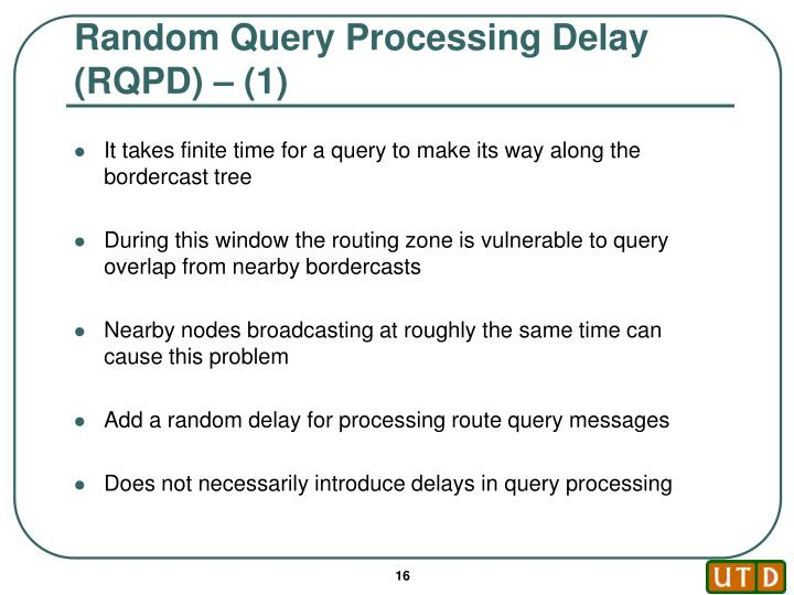 Random Query Processing Delay (RQPD) – (1)
