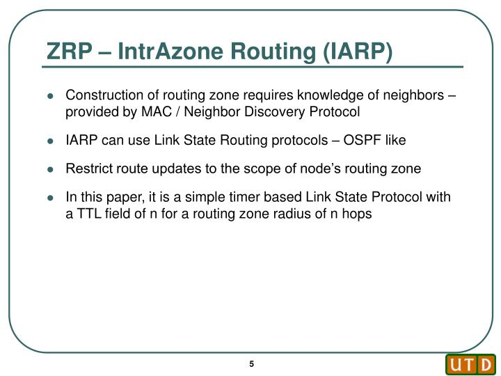 ZRP – IntrAzone Routing (IARP)