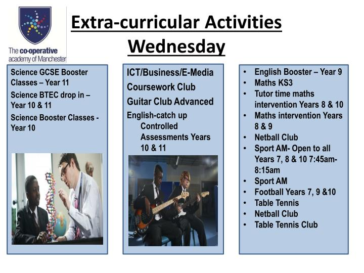 Extra curricular activities wednesday