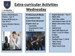 extra curricular activities wednesday