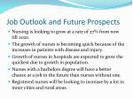 job outlook and future prospects