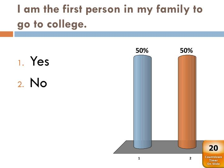 I am the first person in my family to go to college.