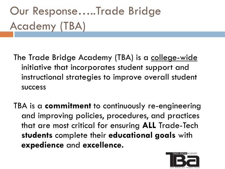 Our Response…..Trade Bridge Academy (TBA)