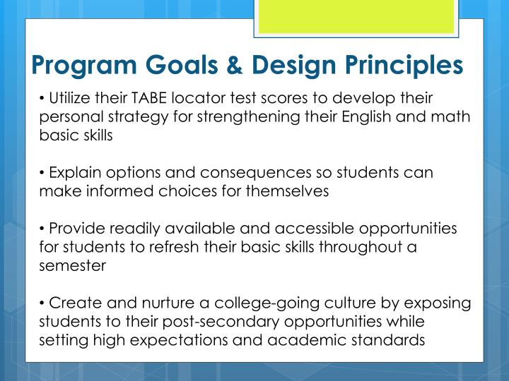 Program Goals & Design Principles