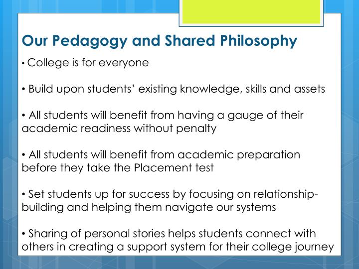 Our Pedagogy and Shared Philosophy