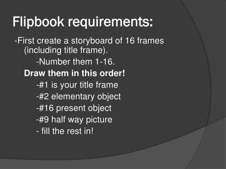 Flipbook requirements: