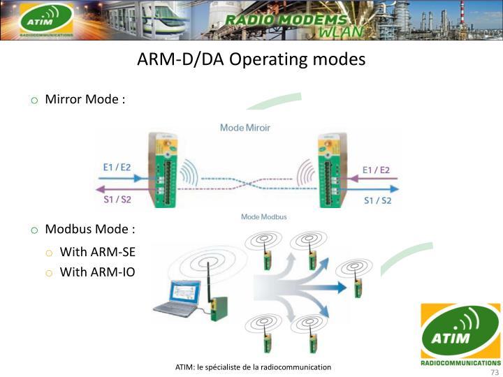 ARM-D/DA Operating modes