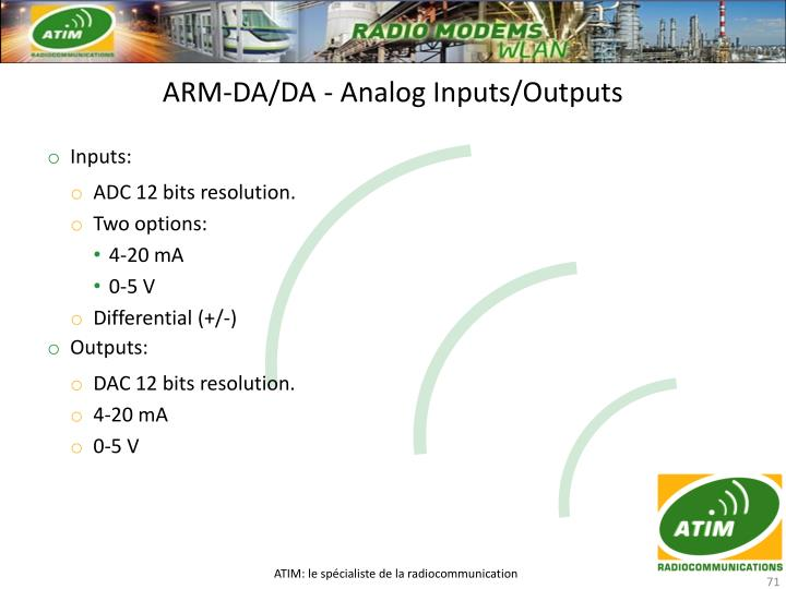 ARM-DA/DA - Analog Inputs/Outputs