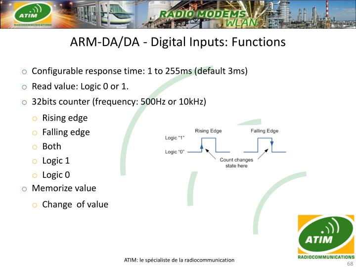 ARM-DA/DA - Digital Inputs: Functions