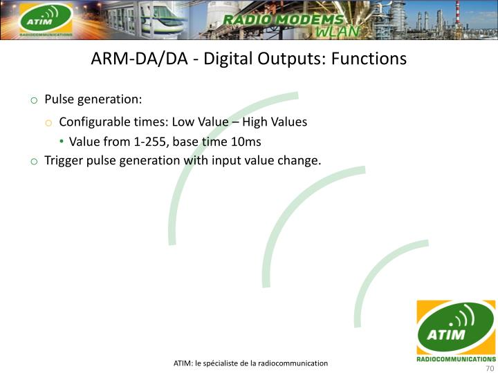 ARM-DA/DA - Digital Outputs: Functions