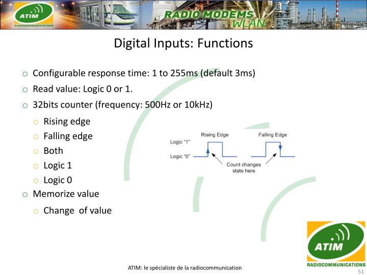 Digital Inputs: Functions