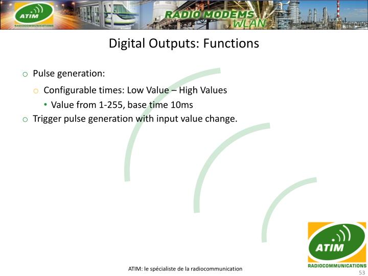 Digital Outputs: Functions