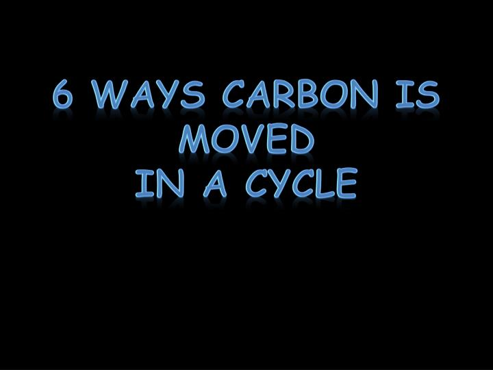 6 Ways Carbon is moved